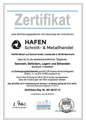 ElektroG Zertifizierung 2014