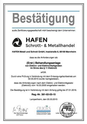 ElektroG Zertifizierung 2015