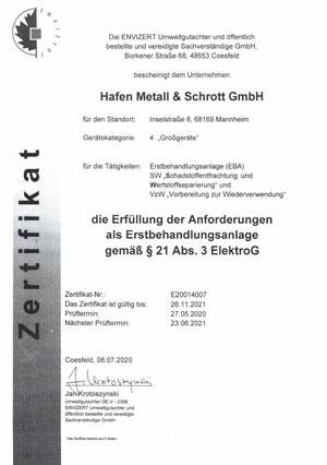 Hafen Metall Zertifikat 2020